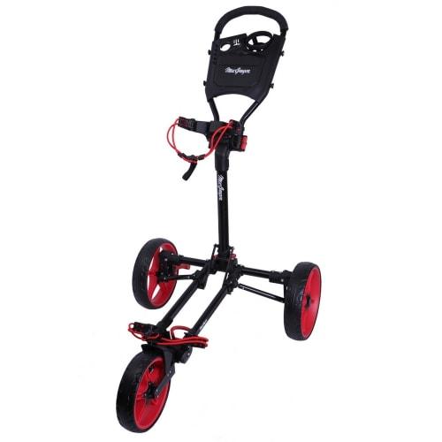 MacGregor Golf Flat Fold 3 Wheel Golf Cart - Folds Completely Flat - Black/Red