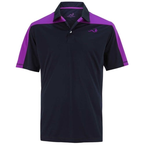 Woodworm Golf Block Panel Golf Polo Shirt - Blue/Purple