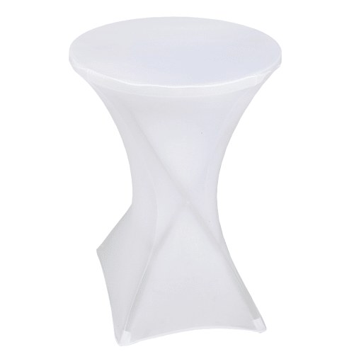 "Palm Springs 32"" Round White Plastic 43"" High Folding Bar Table with Cover"