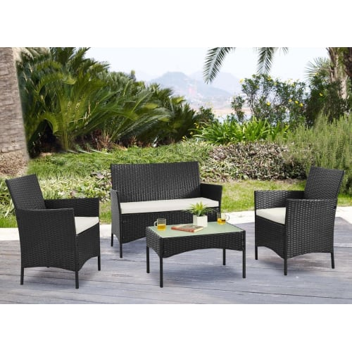 OPEN BOX Palm Springs Deluxe 4Pc Rattan Sofa Chair and Table Set - Black