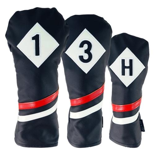 Ram Golf Premium Vintage Style PU Leather Headcovers Set, Retro Black, Driver, Fairway Wood, Hybrid (1,3,X)