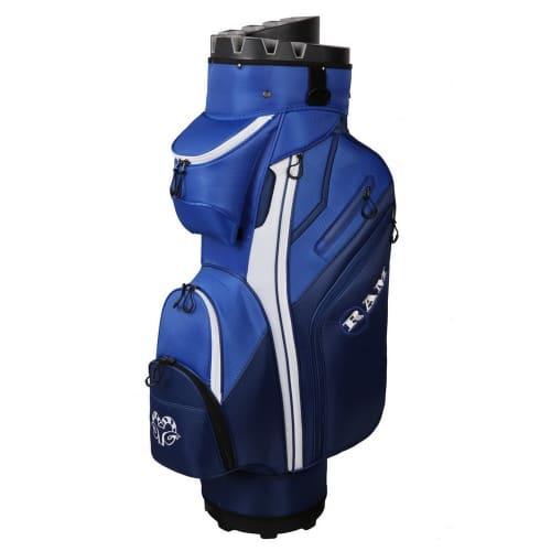 Ram Golf Premium Cart Bag with 14 Way Molded Organizer Divider Top Blue