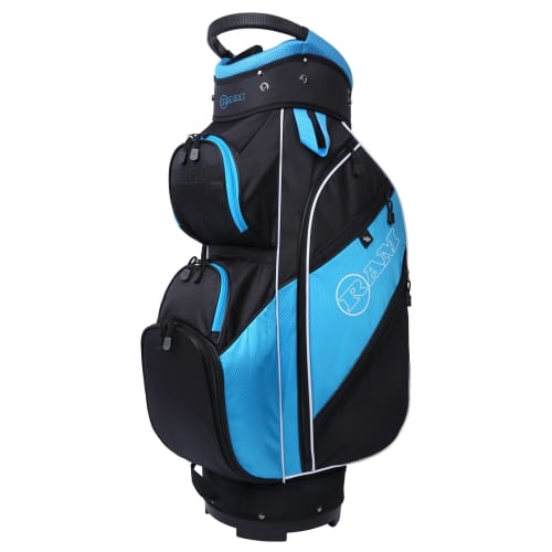 Ram Golf Lightweight Ladies Cart Bag with 14 Way Dividers Top Blue/Pink/White