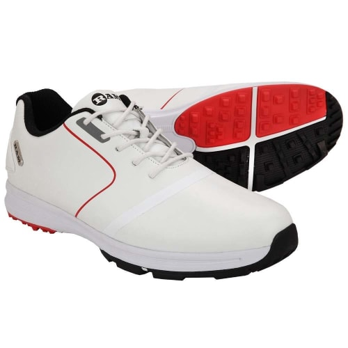 OPEN BOX Ram Golf Player Mens Waterproof Golf Shoes - White / Red