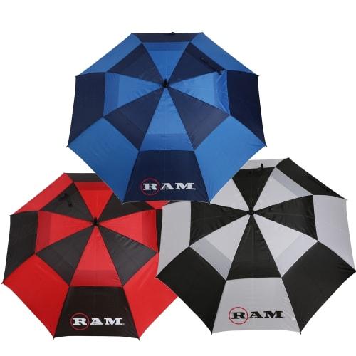 """Ram Golf Umbrellas 3 Pack - Premium 60"""" Double Canopy Golf Umbrellas"""