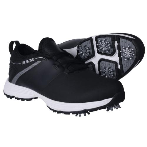 Ram Golf XT1 Mens Waterproof Golf Shoes, Spiked, Black