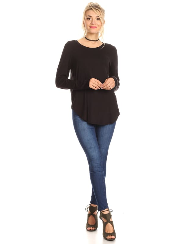 Long Sleeve Crew Neck Tunic Top w/ Tail Hemline Side Slit - Made in USA - All Sizes + Colors!