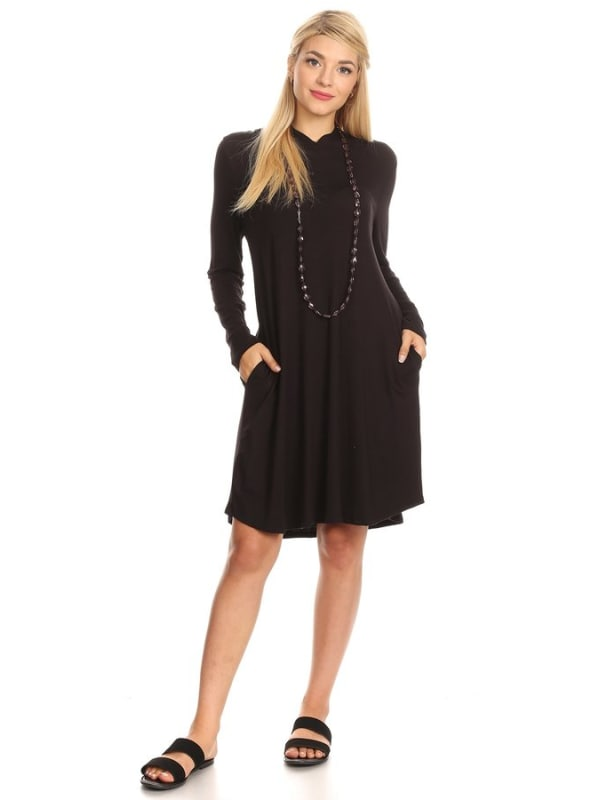 Cute Hooded Pullover Long Sleeve Sweater Dress w/ Pockets - Made in USA