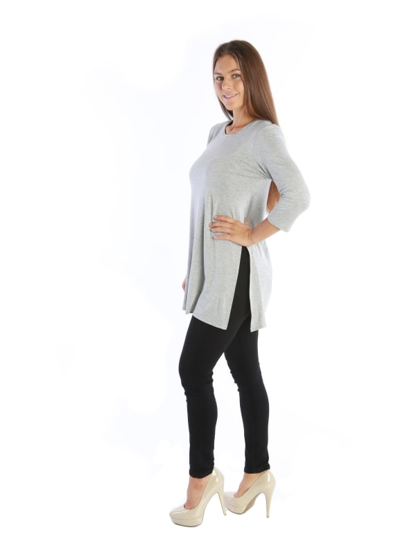 Casual Tunic Fashion Shirt Top 3/4 Sleeve w/ Trendy Side Slits - MADE IN USA - All Sizes + Colors