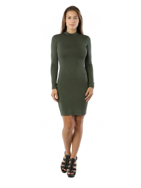 Maxi Fitted Bodycon Midi Dress w/ Long Sleeve Mock Neck - MADE IN USA - All Sizes + Colors