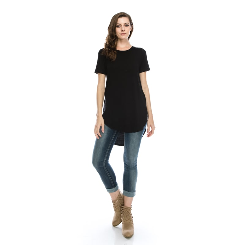 Plus Size Short Sleeve Tunic Top with Fashion Shirt Tail Hemline Side Slit - MADE IN USA -  All Sizes + Colors
