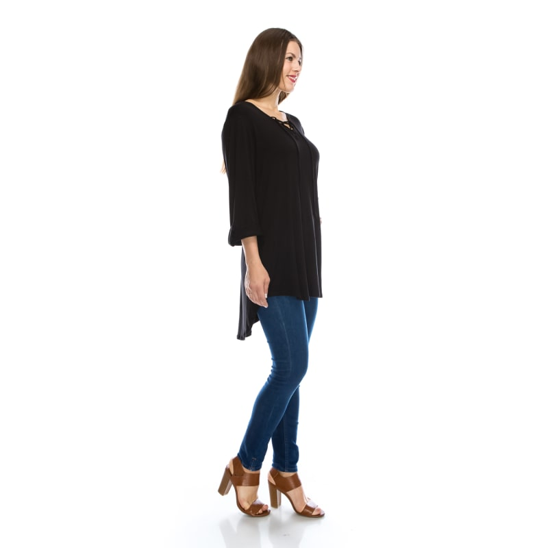 Plus Size Tunic 3/4 Sleeve V-Neckline Top W/Spaghetti Strap Shirt - MADE IN USA -  All Sizes + Colors