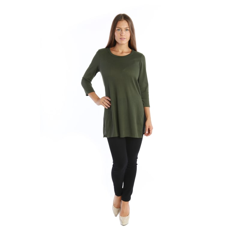 Flowy 3/4 Sleeve Trendy Tunic Fashion Shirt Top w/ Stylish Blouse Side Slits - MADE IN USA - All Sizes + Colors