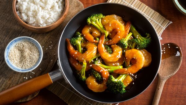 "Baked shrimp and veggie ""stir-fry"""