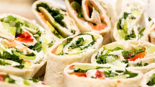 Red, white and green sandwich wraps