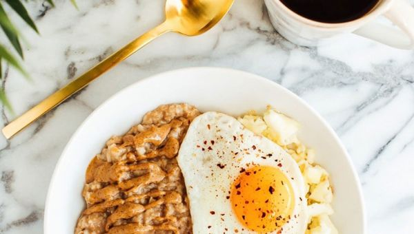 Sweet and savory egg and oatmeal bowl