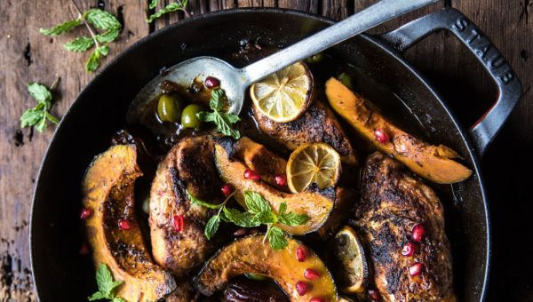 Skillet Roasted Moroccan Chicken and Olive Tagine