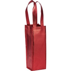 Printed Metallic Single Bottle Wine Tote