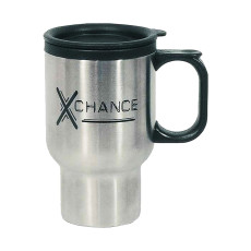 Logo 16 Oz. Stainless Steel Travel Mug with Sip-Thru Lid and Plastic Inner Liner