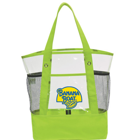 Custom Logo Clear Pocket Tote Bag