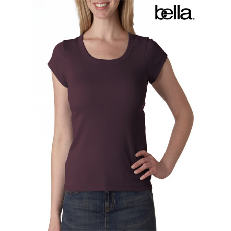 Bella Baby-Rib Short-Sleeve Scoop-Neck Tee