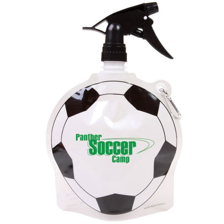 HydroPouch!™ 24 oz. Soccer Ball Collapsible Spray Top Water Bottle - Patented