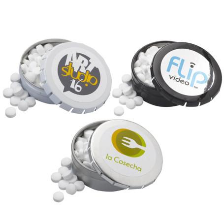 Imprintable Sugar-Freet Mints in Large Push Tin