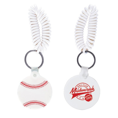 Imprinted Baseball Key Chain with Coil