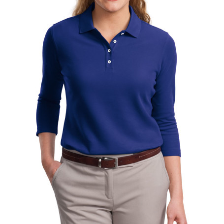 Port Authority Ladies EZCotton Pique 3/4-Sleeve Polo