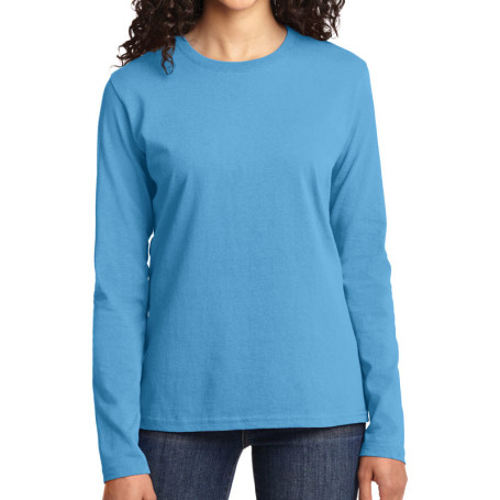 Port & Company Ladies Long Sleeve 5.4-oz 100% Cotton T-Shirt (Apparel)