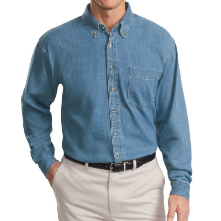 Port Authority Tall Long Sleeve Denim Shirt (Apparel)