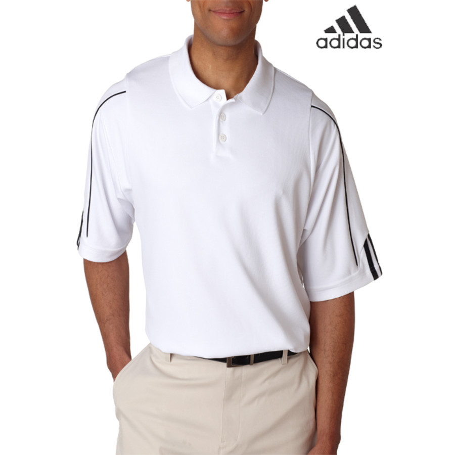 Adidas Mens ClimaLite 3-Stripes Cuff Pique Polo