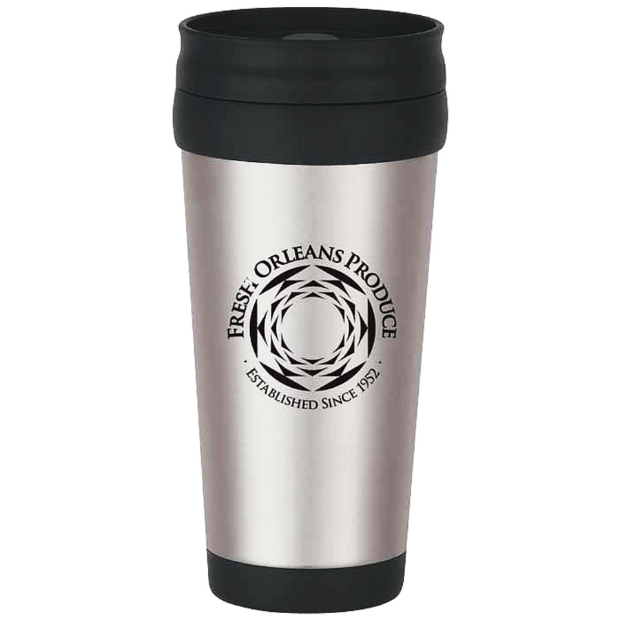 Custom Printed 16 Oz. Stainless Steel Tumbler with Slide Action Lid and Plastic Inner Liner