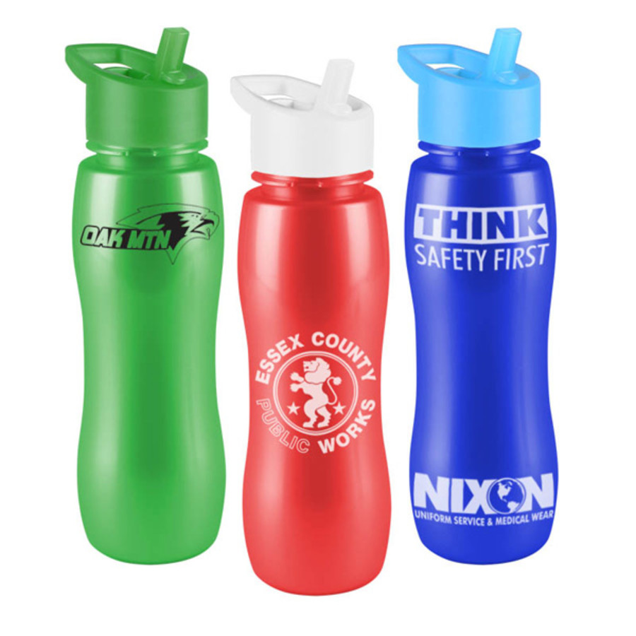 Customizable Slim Grip-M 25 oz. Metalike Bottle with Flip Straw Lid
