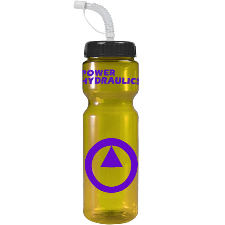 Imprinted 28 oz. Transparent Color Bottle with straw