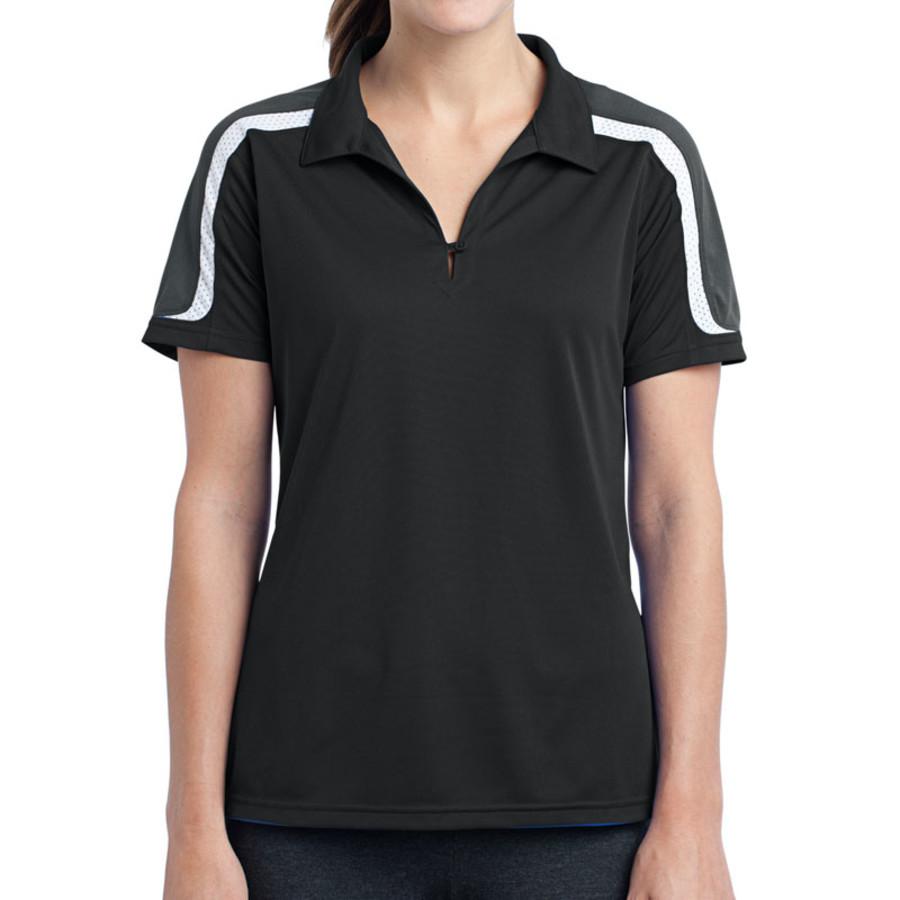 Sport-Tek Ladies Tricolor Shoulder Micropique Sport-Wick Polo (Apparel)
