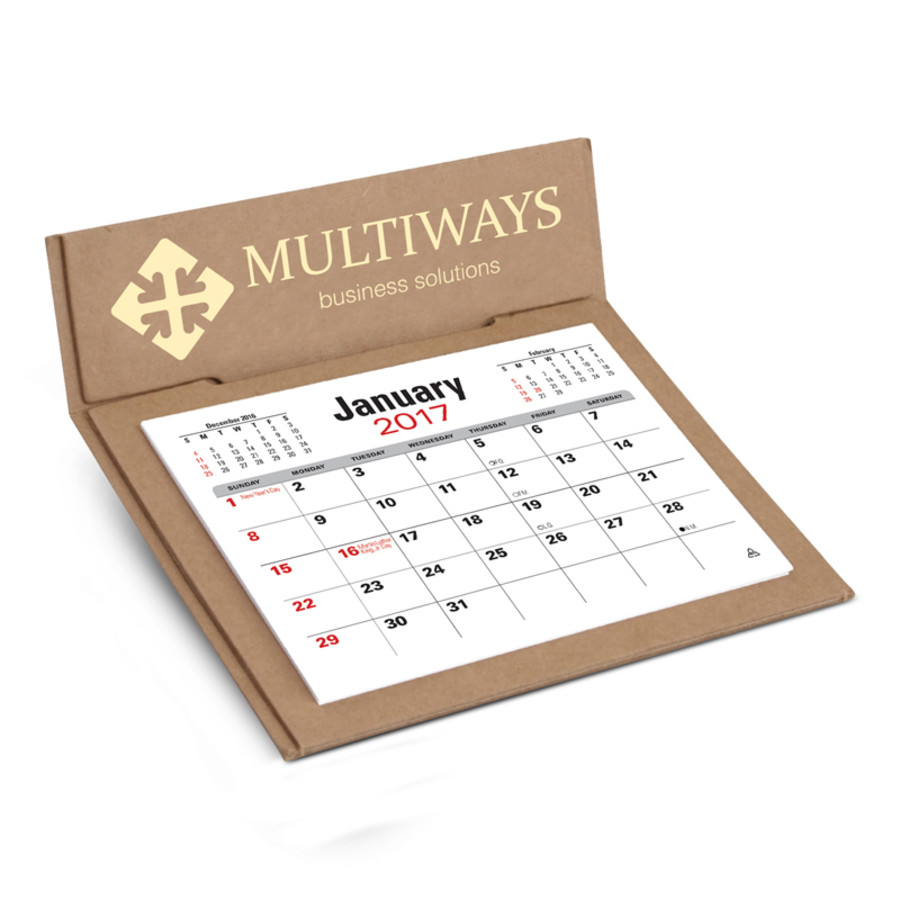 Printed V Natural 3-Month Jumbo Pop Up Calendar