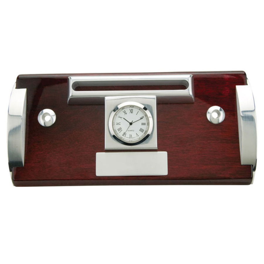 Printable Wood & Aluminum Clock, Business Card Holder and Pen Stand
