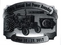 Red Power Round Up Belt Buckle