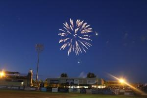 Fireworks over Fifth Third Ballpark in Comstock Park