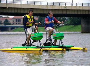 Friends paddle the RiverScape in downtown Dayton.