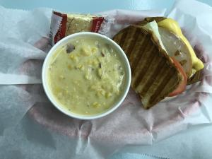 The Drifter and a side of corn chowder from Maddie's in Brownsburg.