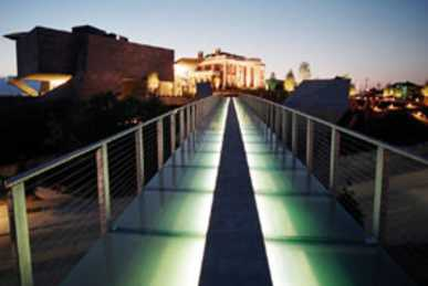 Glass bridge at night