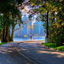 Stanley Park Seawall w/ City Background