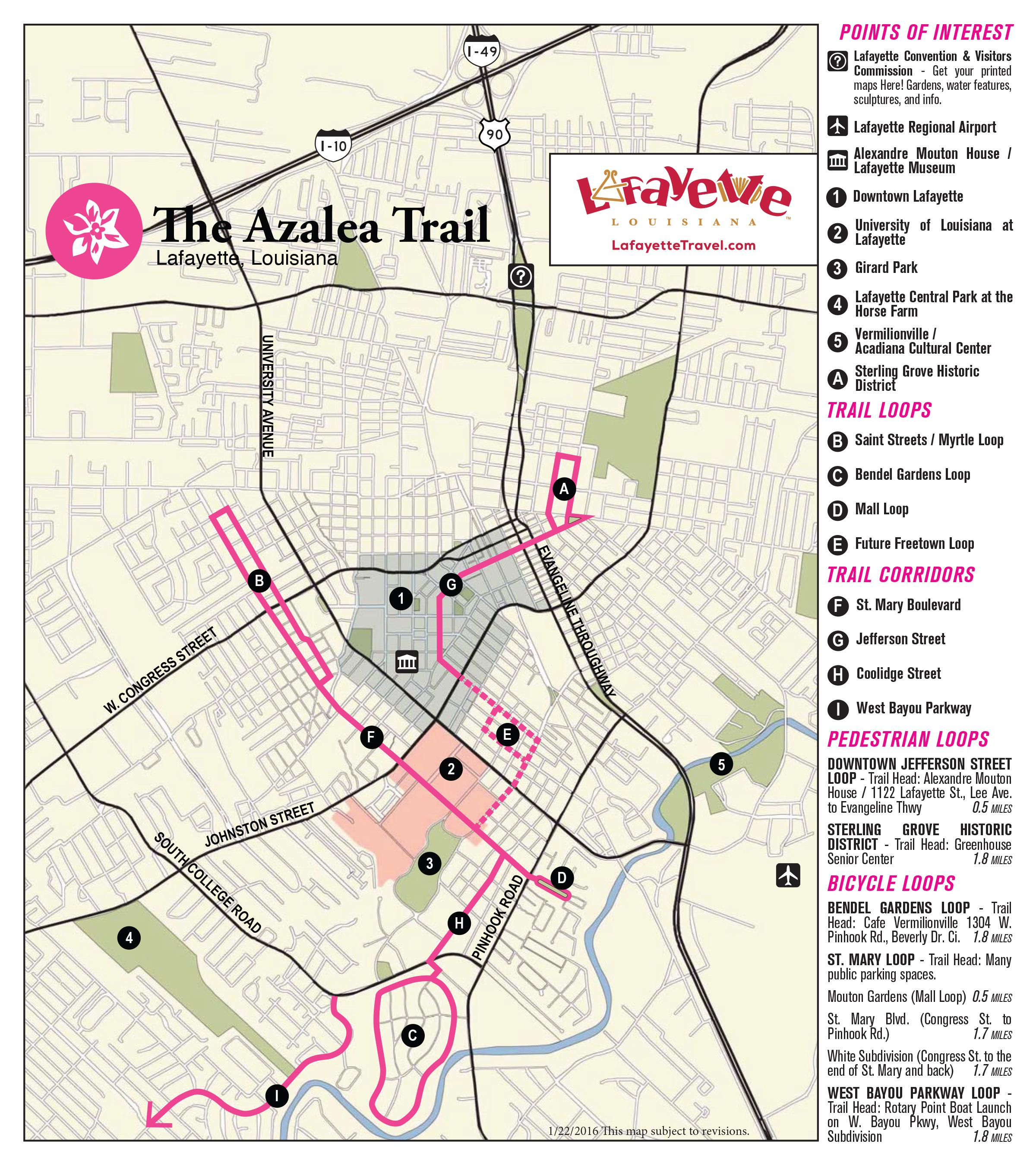 Lafayette Azalea Trail Map
