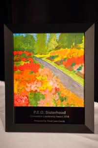 P.E.O Sisterhood's beautiful hand-painted award
