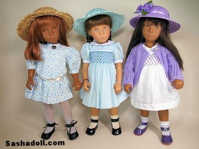 three Sasha Dolls in a row
