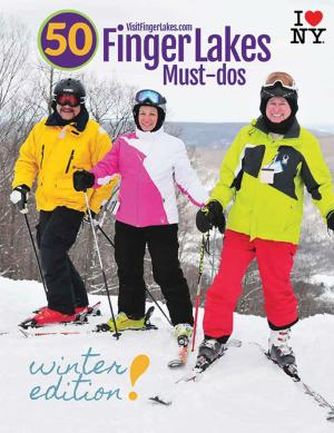 cover of Ontario County's official visitor guide, winter edition. Three skiiers stand atop Bristol Mountain in bright skiing gear.