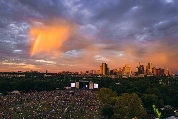 ACL 2016 Aerial, Zilker Park at sundown
