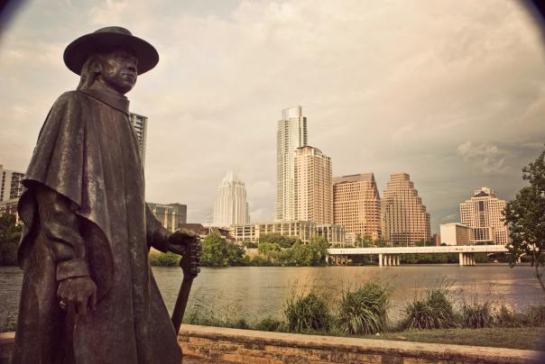 Stevie Ray Vaughan memorial and Austin skyline
